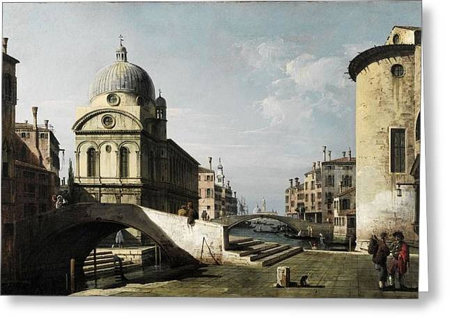 Constable Greeting Cards - Venezianisches Capriccio mit Ansicht von Santa Maria dei Miracoli c 1740  Greeting Card by MotionAge Designs