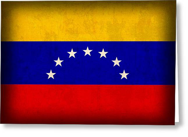 Venezuela Greeting Cards - Venezuela Flag Distressed Vintage Finish Greeting Card by Design Turnpike