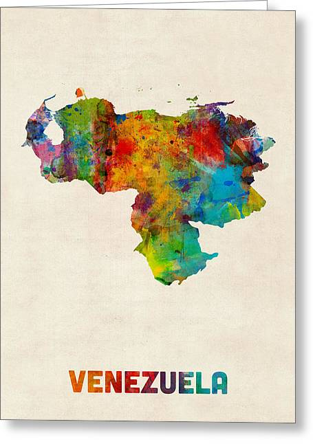 Venezuela Greeting Cards - Venezuela Watercolor Map Greeting Card by Michael Tompsett