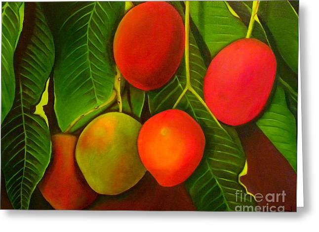 Mango Paintings Greeting Cards - Venezuelan Mangos Greeting Card by Fanny Diaz