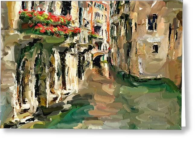 Gondolier Digital Art Greeting Cards - Venice 11 Greeting Card by Yury Malkov
