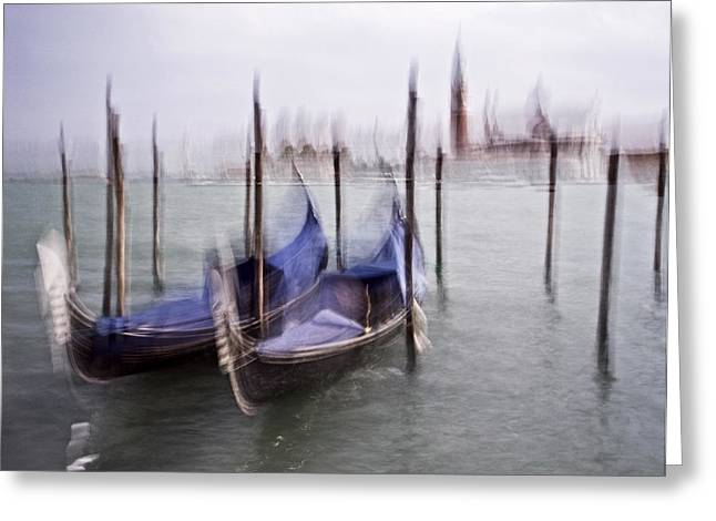 Abstract Black And White Blue Venice Italy Photography Art Work Greeting Card by Artecco Fine Art Photography
