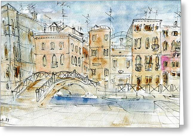 Urban Images Drawings Greeting Cards - Venice Aquarel 83 - Watercolor Painting Greeting Card by Peter Fine Art Gallery  - Paintings Photos Digital Art