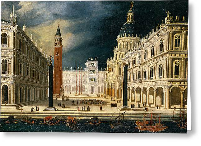 Nome Greeting Cards - Venice a view of San Marco from the Bacino Greeting Card by Francois de Nome
