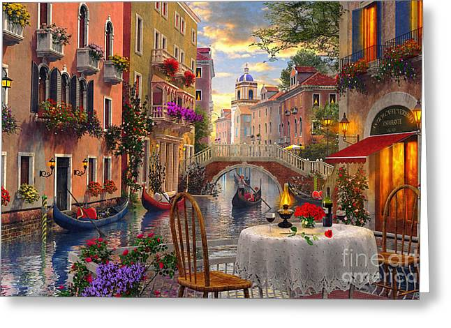 Best Sellers -  - Coloured Greeting Cards - Venice Al fresco Greeting Card by Dominic Davison