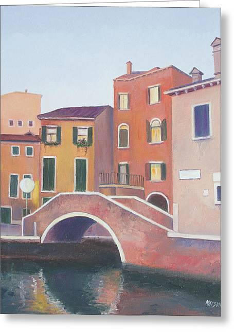 Modern Canvas Art Photo Greeting Cards - Venice architecture early morning Greeting Card by Jan Matson