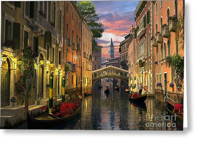 Canal Greeting Cards - Venice at Dusk Greeting Card by Dominic Davison