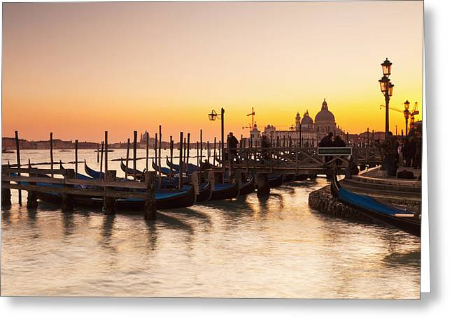Boats In Reflecting Water Photographs Greeting Cards - Venice At Dusk Venice, Italy Greeting Card by Kav Dadfar