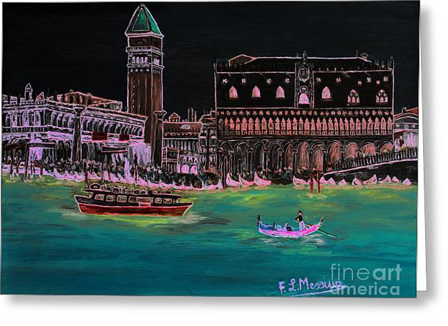 Gondolier Drawings Greeting Cards - Venice at night Greeting Card by Loredana Messina