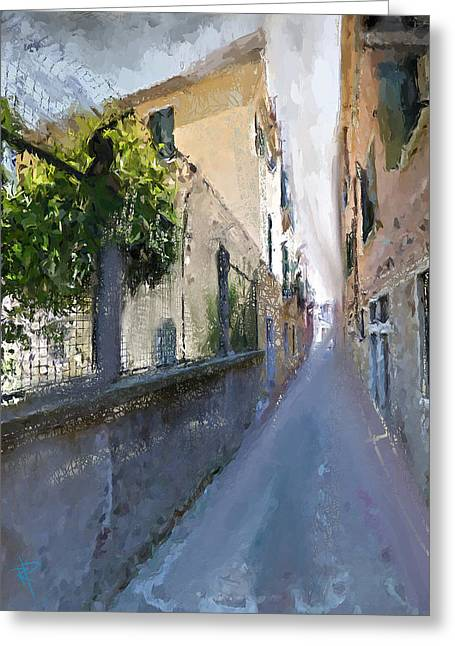 Europe Mixed Media Greeting Cards - Venice Back Alley Greeting Card by Russell Pierce
