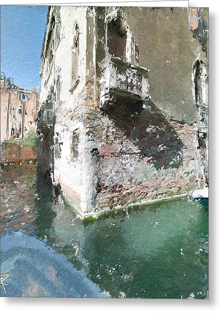 Europe Mixed Media Greeting Cards - Venice Balcony Greeting Card by Russell Pierce