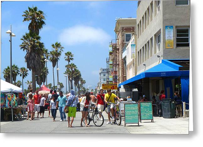 Venice Beach Palms Greeting Cards - Venice Beach Boardwalk Greeting Card by Nancy Merkle