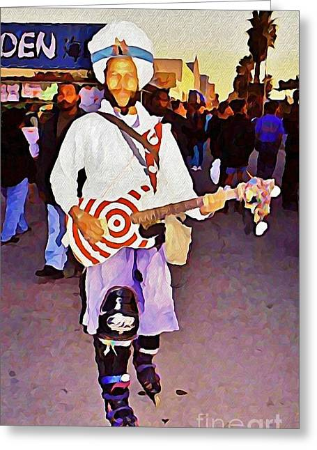 Venice Beach Busking Icon Greeting Card by John Malone