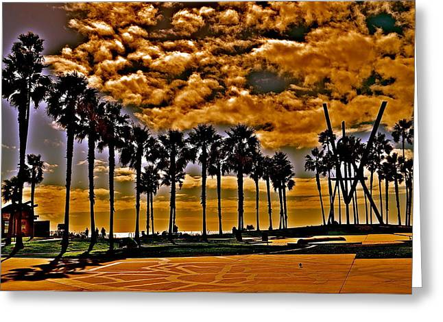 Venice Beach Palms Greeting Cards - Venice Beach California Greeting Card by Joe  Burns