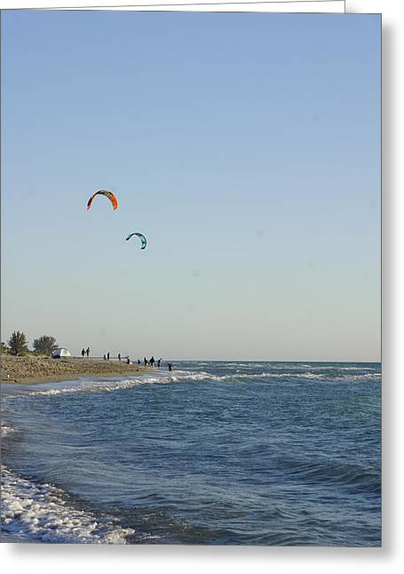 Kite Boarding Greeting Cards - Venice Beach Kite Surfers 2 Greeting Card by Laurie Perry