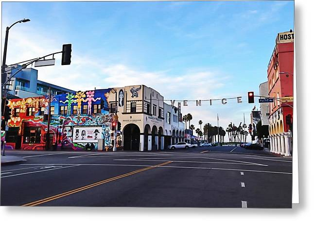 California Beach Art Greeting Cards - Venice Beach Morning Greeting Card by Art Block Collections