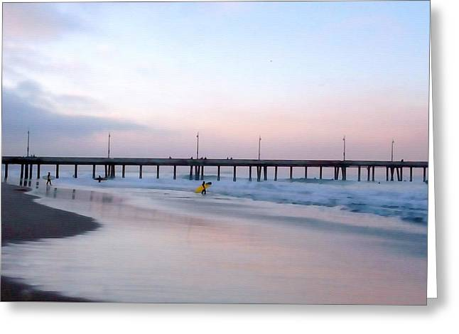 Surfer Art Greeting Cards - Venice Beach Pier Greeting Card by Art Block Collections