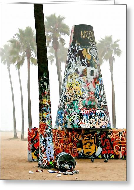 Best Sellers -  - Foggy Beach Greeting Cards - Venice Beach Pit Greeting Card by Art Block Collections