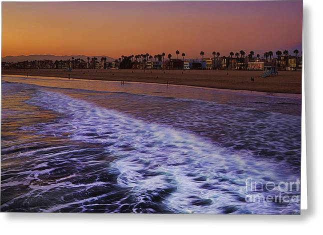 Surf Art Pyrography Greeting Cards - Venice Beach Sunset Greeting Card by Dmitry Chernomazov