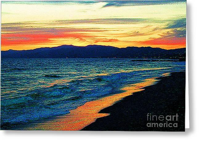 Jerome Stumphauzer Greeting Cards - Venice Beach Sunset Greeting Card by Jerome Stumphauzer
