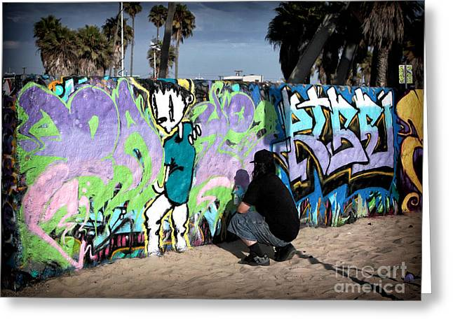 Venice Beach Palms Greeting Cards - Venice Beach Tagging Greeting Card by John Rizzuto