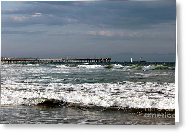 California Contemporary Gallery Greeting Cards - Venice Beach Waves II Greeting Card by John Rizzuto
