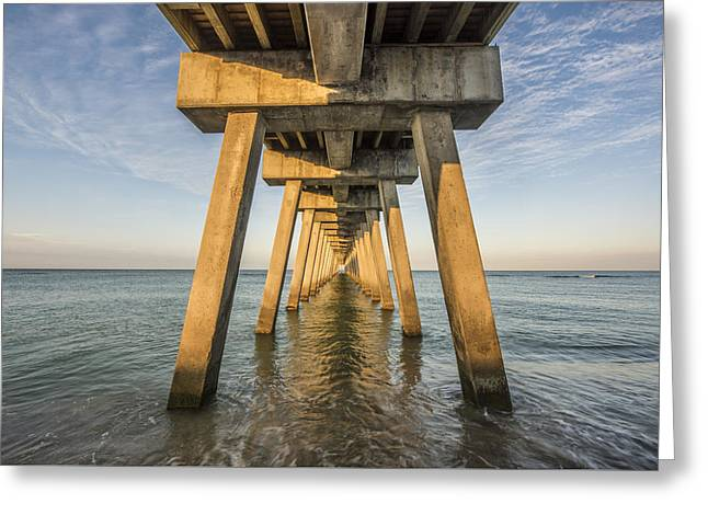Pier Prints Greeting Cards - Venice Below the Pier Greeting Card by Jon Glaser