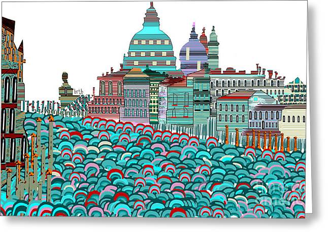 Italian Landscapes Mixed Media Greeting Cards - Venice Blues Greeting Card by Bri Buckley