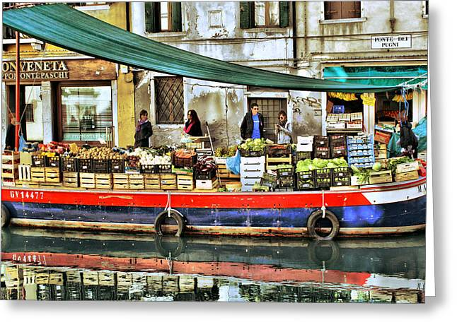 Venice Tour Greeting Cards - Venice Boat Market Greeting Card by Yury Malkov