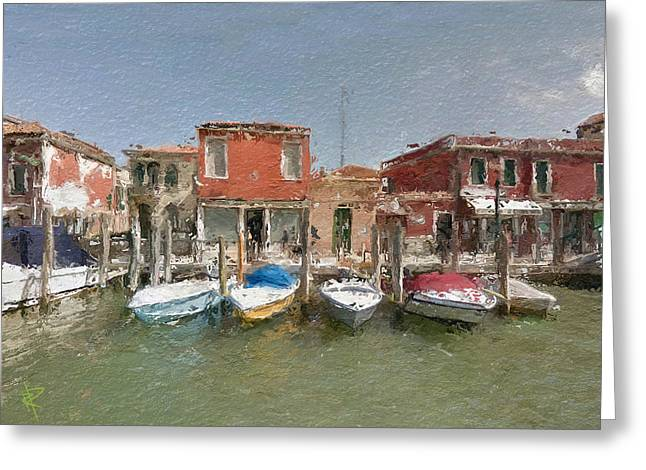 Europe Mixed Media Greeting Cards - Venice Boats Greeting Card by Russell Pierce