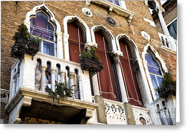 Venetian Balcony Greeting Cards - Venice Brick Design Greeting Card by John Rizzuto
