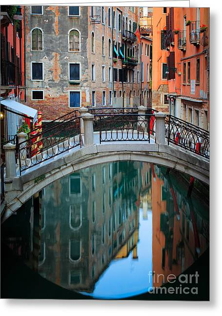 Italian Landscapes Greeting Cards - Venice Bridge Greeting Card by Inge Johnsson
