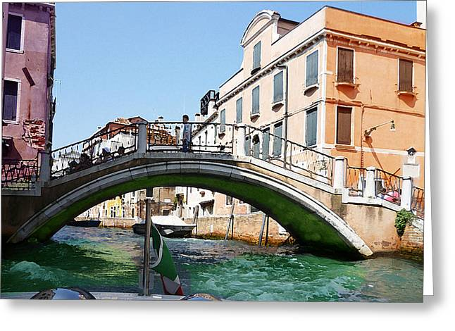 Children Digital Art Greeting Cards - Venice Bridge Greeting Card by Irina Sztukowski