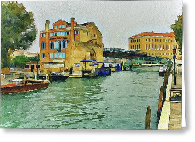 Live Art Greeting Cards - Venice Bridge near central station Greeting Card by Yury Malkov