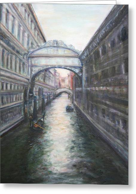 Travel Narratives Greeting Cards - Venice Bridge of Sighs - Original Oil Painting Greeting Card by Quin Sweetman