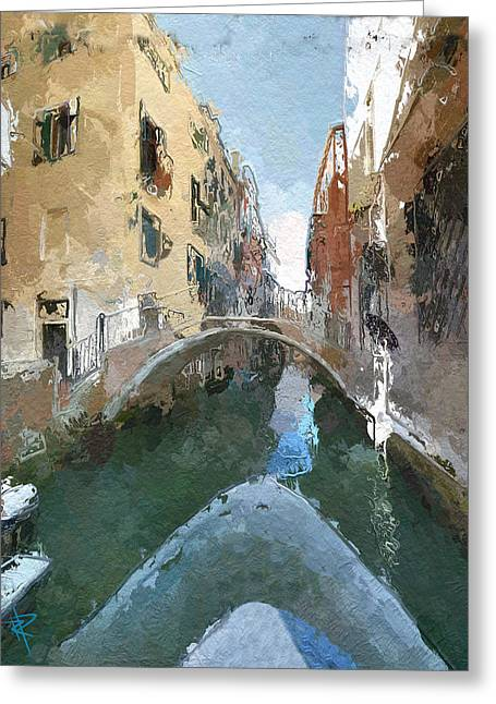 Europe Mixed Media Greeting Cards - Venice Bridge Greeting Card by Russell Pierce