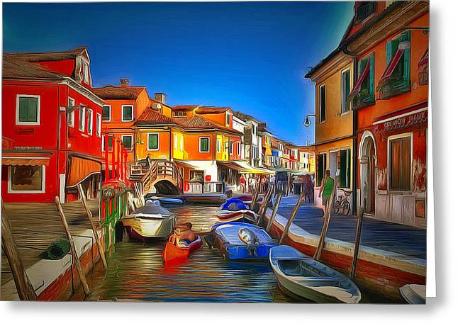 Gondolier Greeting Cards - Venice Burano Beauty 1 Greeting Card by Yury Malkov