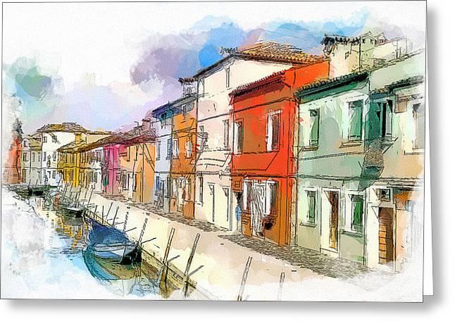 Gondolier Digital Art Greeting Cards - Venice burano beauty 3 Greeting Card by Yury Malkov