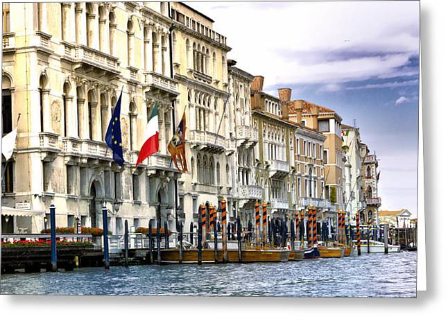 The Piazza Greeting Cards - Venice - Business Along The Canal Greeting Card by Jon Berghoff
