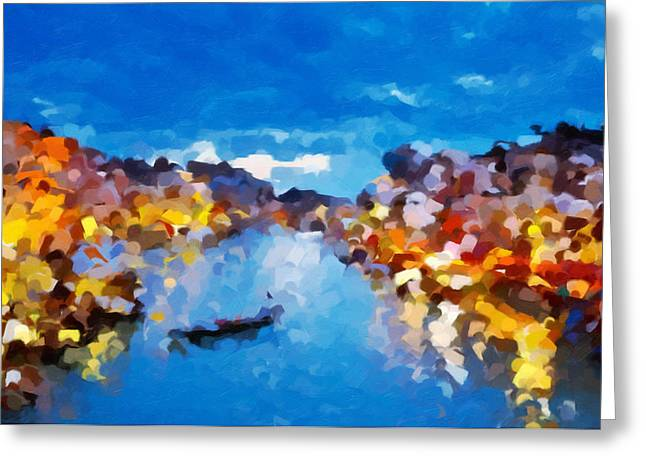 Regalo Greeting Cards - Venice By Night Abstract Realism Greeting Card by Georgiana Romanovna