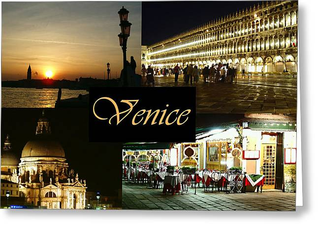 Italian Sunset Greeting Cards - Venice by Night Greeting Card by Ellen Henneke