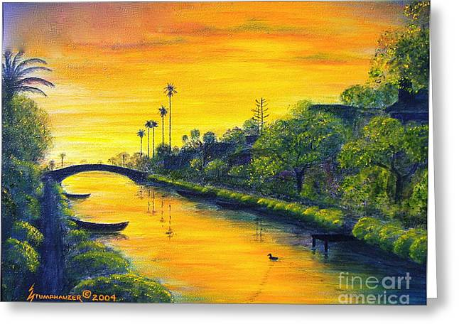 Canoe Greeting Cards - Venice California Canal Greeting Card by Jerome Stumphauzer