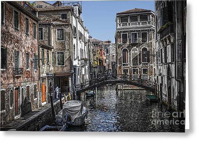 Dorsoduro Greeting Cards - Venice Canal 5 Greeting Card by Paul and Helen Woodford