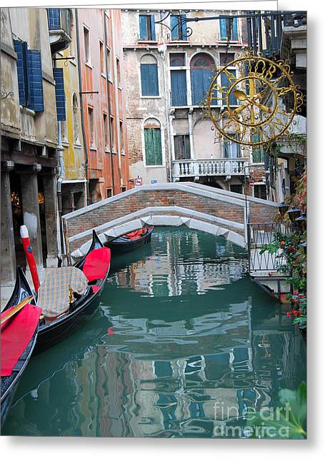 Fineartamerica Greeting Cards - Venice Canal and Buildings Greeting Card by Eva Kaufman