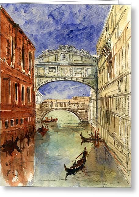 Venice Canal Bridge Of Sighs Greeting Card by Juan  Bosco