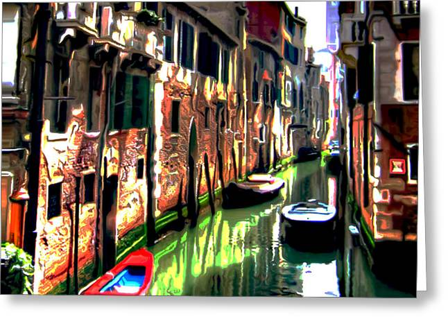 Canal Prints Greeting Cards - Venice Canal Greeting Card by  Fli Art