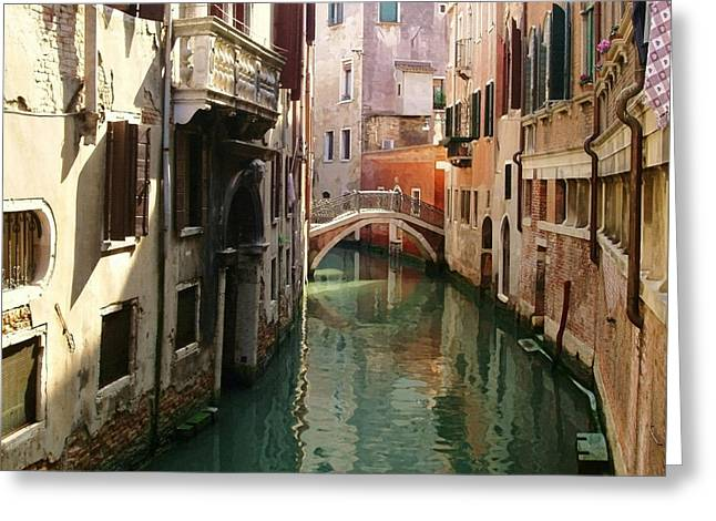 Venetian Balcony Greeting Cards - Venice Canal Greeting Card by Ellen Henneke
