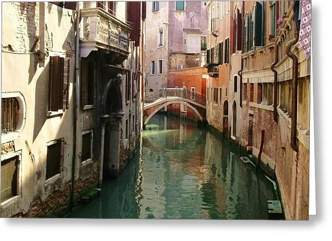 Venetian Balcony Greeting Cards - Venice Canal Greeting Card by Ellen Henneke