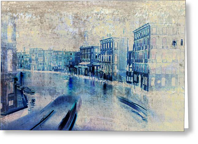 Chic Mixed Media Greeting Cards - Venice Canal Grande Greeting Card by Frank Tschakert