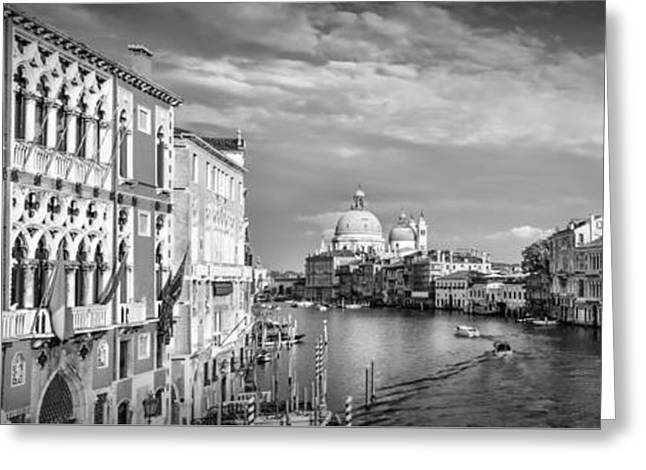 Santa Maria Greeting Cards - VENICE Canal Grande Santa Maria della Salute black and white Greeting Card by Melanie Viola